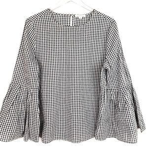 Beach Lunch Lounge Gingham Checkered Bell Sleeve